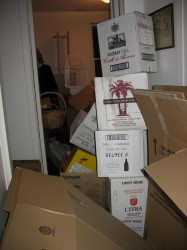 unpacked boxes