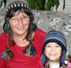 Mom and Arrow in their  Christmas Hats