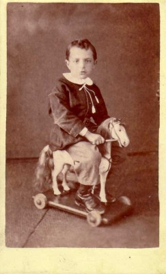 Boy on wheeled horse: Lundy, Waterloo