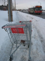 Abandoned cart on uncleared sidewalk on Merivale