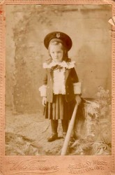 Antique photo: girl with HMS Nelson cap