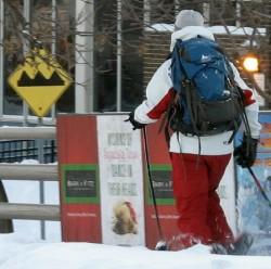 Snowshoeing to work