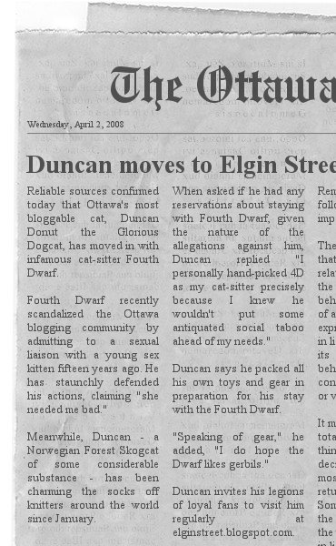 Duncan moves to Elgin Street